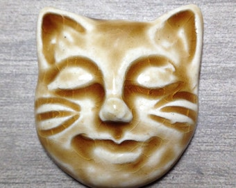 Kitty Face Ceramic Cabochon Stone in Peachy Tan