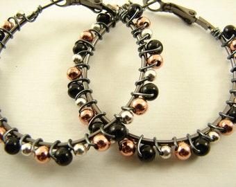 Mixed Metal Wire Wrapped Beaded Hoop Earrings, Gun Metal, Copper, Silver Earrings