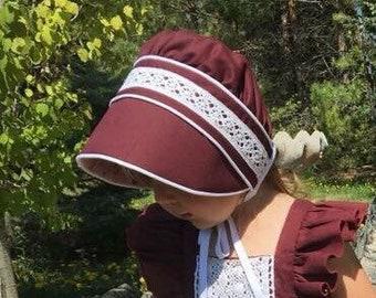 Bonnet / Sunbonnet / Lace Bonnet/ Sunhat / Burgandy Bonnet