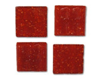 Red Poppy Glass Tile 20mm, Quantity of 50 Tiles, Mosaic Supplies