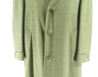 Vintage 50s Nubby Fleck Coat Overcoat Mens 42 Union Made Thin Wool Long [H31I_3-9_Long]