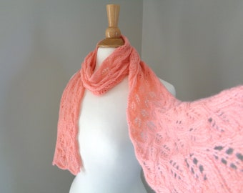Lace Design Cashmere Scarf, Coral Pink, Hand Knit, Super Light, Featherweight Scarf, Lacy Wrap Scarf, Pure Cashmere