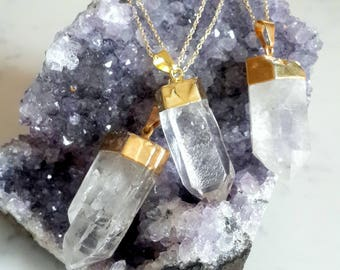 Clear Quartz Crystal Point Necklace on Gold Fill Chain