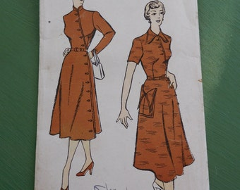 """Vintage 40's New York Pattern #797  Sewing Pattern Women's Dress Side Closing Button Down Complete Bust 32"""""""