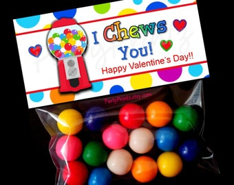 INSTANT DOWNLOAD - Printable Treat Bag Toppers  - I Chews you for Valentine's Day