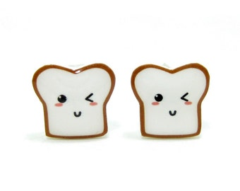 Bread Buddy 3 Toast Earrings | Sterling Silver Posts Studs | Gifts For Her
