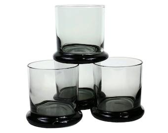 Vintage Whiskey Glasses Smokey Black PEEDEE Italy