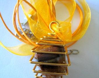 TIGER EYE Tumble Stone in Gold PENDANT on Yellow Silk cord