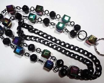 Black  Irridescent Cubes Lanyard, Beaded Badge Holder, Black Chain Lanyard, Id Badge Holder, Lanyard ID Holder - Breakaway Optional