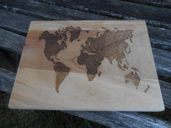 World Map Cutting Board, Laser Engraved. Gift For Dad, Fathers Day, Wedding, Christmas, Groom. Travel, Bride Groom, Rustic Decor