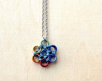 Rainbow Flower Pendant - Seed of Life Necklace - Sacred Geometry Necklace - Mens Necklace - Chakra Necklace - Healing Jewelry -Hippie -Reiki