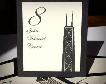 Chicago Table Number Wedding Decor Custom Icons Landmarks Silhouette City Illinois