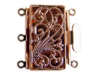 Filigree 3 Strand Push Pull Box Clasp Copper-Plated 43525 (4) Copper Box Clasps, Filigree Clasps Rectangle Clasps Jewelry Clasp Multi-Strand