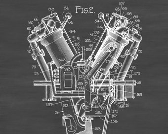 Aircraft Motor Patent - Vintage Airplane, Engine Patent, Airplane Blueprint, Airplane Art, Pilot Gift,  Aircraft Decor, Airplane Poster