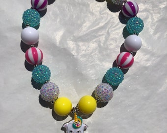 Unicorn chunky bead bubblegum necklace adjustable necklace perfect for birthdsy shoots photo props unicorm birthday outfit accessories unico