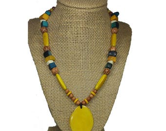 Yellow Tagua Necklace - Yellow Boho Necklace - Tagua Nut Necklace