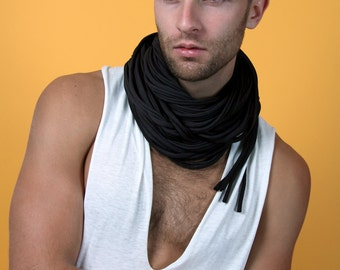 Black Scarf, Infinity Scarf, Boyfriend Gift, Mens Gift, Festival Clothing, Burning Man, Husband Gift, Mens Necklace, Gift for Boyfriend, Men