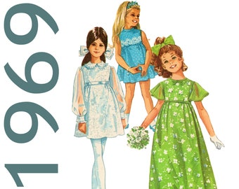 Vintage Flower Girl Dress Girls Empire Waist Dress Pater Pan Collar Girls Long Dress SIMPLICITY 87175 Girls Size 8 Dress Girls Mini Dress