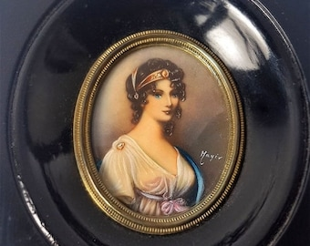 SALE French Antique Miniature Portrait Painting of Queen of Prussia , Painting in black Wooden Frame Signed Miniature Portrait