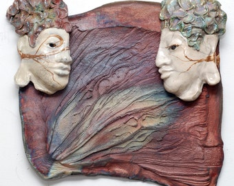 Two Buddhas Wall Art in Raku Ceramics