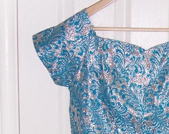 blue and silver foil brilliant vintage wiggle shift dress 60s