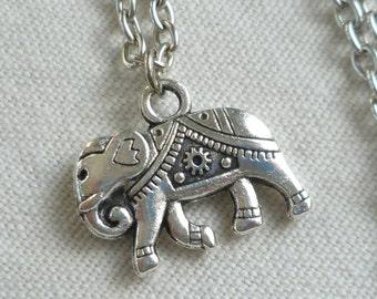 Elephant necklace,elephant jewellery,silver jewelry,elephant charm,silver elephant,buddhist jewellery,simple jewelry,gift,handmade,pendant