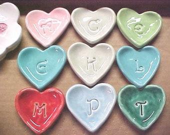 Tiny Heart Dish | Bridesmaid Gift | Wedding Favors | Custom Initials | Ceramic Pottery Small Bowl