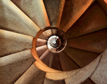 Stairs Art Print Fine Art Photo Spiral Staircase Wall Art Architecture Print Printable Poster Bronze Staircase Wall Decor Digital Download