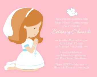 First Communion Invitation, Girl Invitation, Communion Party Invite, Holy Communion, Communion Invitations PRINTABLE