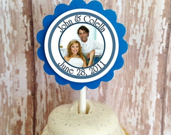 custom wedding cupcake toppers, photo cupcake toppers, custom wedding photo cupcake toppers, bridal shower cupcake toppers, set of 24
