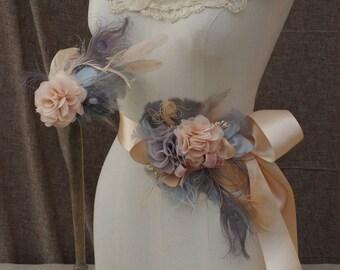 Brautgürtel & Headpiece Talienband grau apricot Brautkleid Fascinator vintage Braut Vintage Hochzeit Haarschmuck Accessoires Kopfschmuck