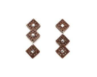 Square silver drop earrings silver earrings, Wooden earrings for women, Sterling silver earrings, Asymmetrical earrings, Geometric earrings
