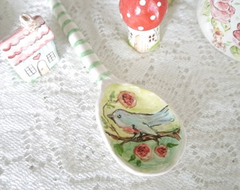 Ceramic Porcelain Spoon with Painted Blue Bird, Green and White Striped Handle with Pink Flower