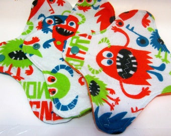 3 Cloth Panty Liners Eco-Friendly Panty Liners Cloth Pads Reusable Pads-Monsters