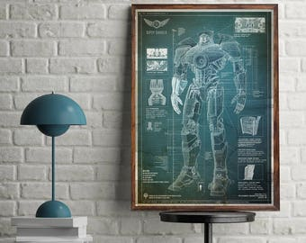 Pacific Rim Technical Drawing Jaeger blue sketch poster