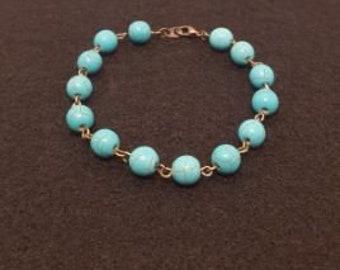 Blue howlite beaded bracelet