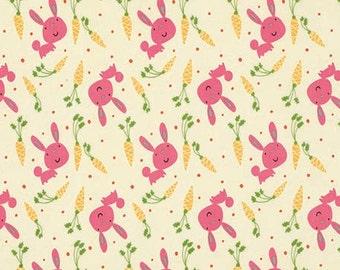STORE CLOSING SALE - Garden, Bunny & Carrots, Pink, David Walker, Free Spirit, 100% Cotton Quilt Fabric, Quilting Fabric