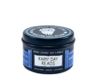 Rainy Day Reads - 2 oz Mini Book Lovers' Soy Candle -  Book Lover Gift - Scented Soy Candle - Frostbeard Studio