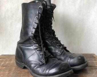 7.5 D | Worn In Paratrooper Jump Boots Black Cap Toe Combat Boots