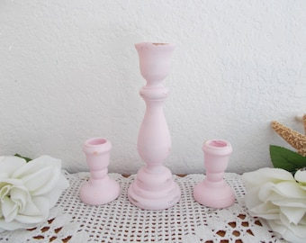 Pink Shabby Chic Wedding Unity Candle Holder Set Taper Candlestick Collection Paris French Country Farmhouse Romantic Cottage Home Decor