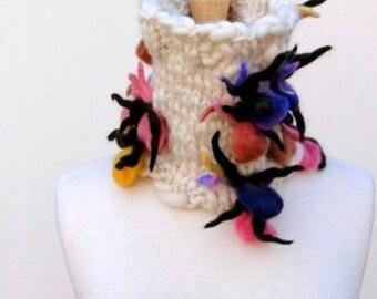 Unique Cowl Scarf Hand Knit Ecru Scarf Luxury Neck Warmer