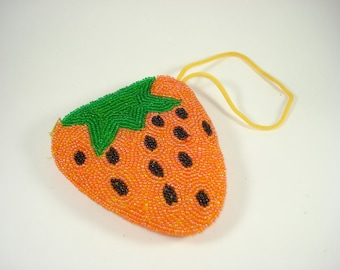 Orange Strawberry Change Purse - Beaded - Coins - Womens Accessories - 1990s