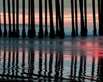 California Pier Sunset - Pismo Beach - Ocean Art - Wall Art - Home Decor
