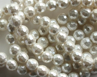 South Sea Shell Pearl, 3D faceted White Disco Ball Beads, 16 Inch Strand, 6mm, H-008