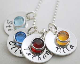 Personalized Mom Name Pendant Necklace Four Names Mommy Jewelry Custom Hand Stamped Silver
