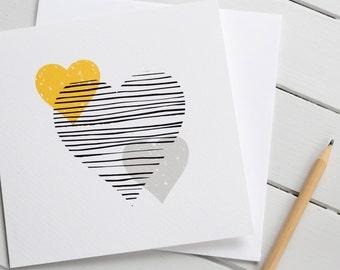 Love Heart Valentine Card Modern Scandi Romantic Gender Neutral Wedding Anniversary Yellow Grey