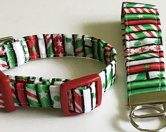 Green & Red Striped Candy Cane Dog and Cat Collar with Key Fob Option