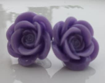 Large Lavender Rose Earrings