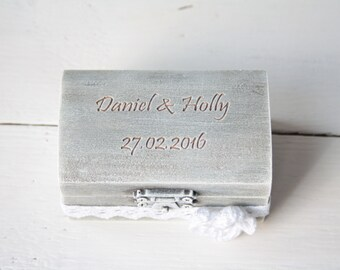 Ring Bearer Box, Wedding Ring Box, Rustic Vintage Wedding Ring Holder, Pillow Bearer Box
