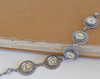 Typewriter Key Bracelet Jewelry , LOVE,  Retro, Recycyled, Reclaimed, Vintage - Custom Orders Welcome